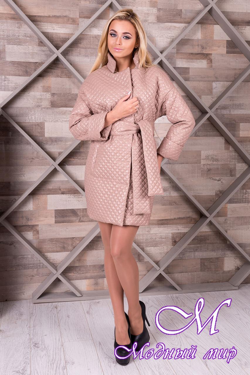 Женское бежевое пальто из плащевки (р. S, M, L) арт. Салли 9991