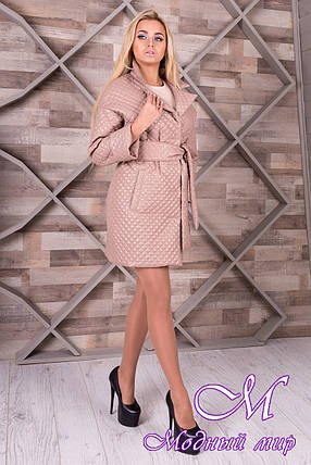 Женское бежевое пальто из плащевки (р. S, M, L) арт. Салли 9991, фото 2