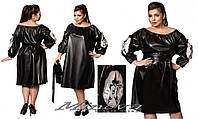 Кожаное женское платье с вставками сетки батал
