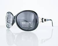 Классические овальные женские очки от солнца в массивной оправе
