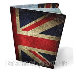 "Кожаная обложка на паспорт  ""Британский флаг"""