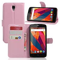 Чехол книжка Litchi Skin Wallet для ZTE Blade L5 Plus розовый