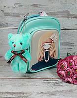 Сумочка-рюкзак для девочки мята с брелком мишка