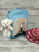 Сумочка-рюкзак для девочки с брелком мишка
