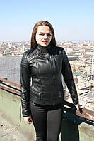 Кожаная куртка со стегаными плечами