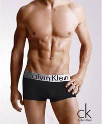Черные трусы Calvin Klein с серебристой резинкой. Артикул: CK-StU-D-s (реплика)