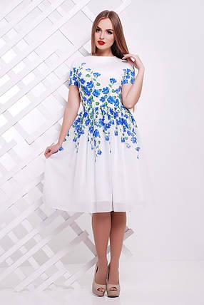df5a5a49ad5 Нежное белое платье с голубыми цветами нарядное S M L  продажа