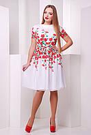Платье белое с красными цветами нарядное S M L