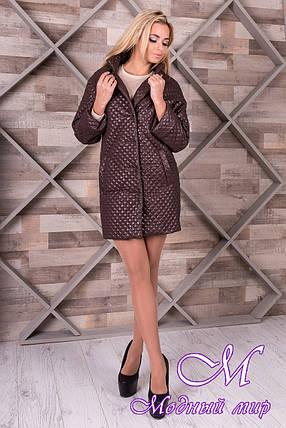 Женское коричневое пальто из плащевки (р. S, M, L) арт. Салли 9994, фото 2