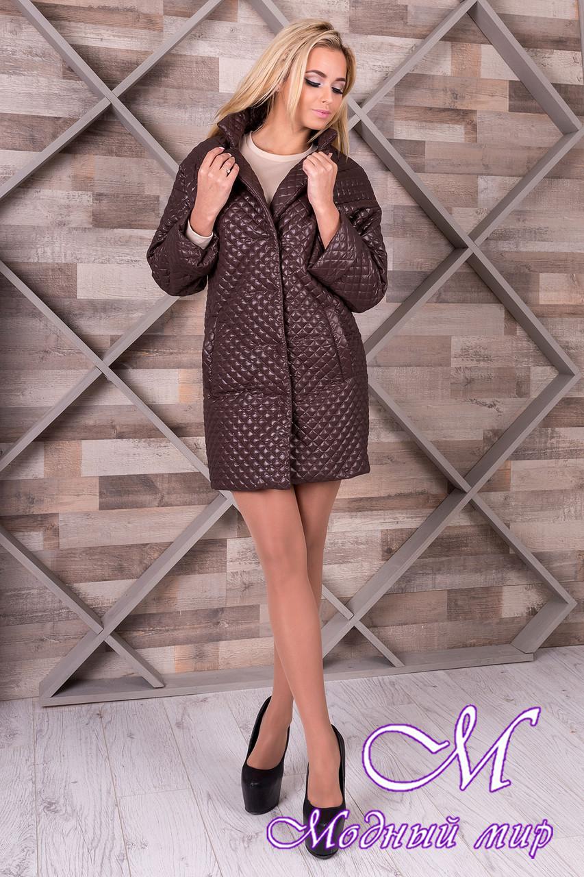 Женское коричневое пальто из плащевки (р. S, M, L) арт. Салли 9994