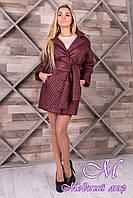 Женское бордовое пальто из плащевки (р. S, M, L) арт. Салли 9993