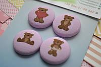 Тканевые фишки Мишки на розовом.  В наборе 4 шт, размер 28 мм.