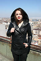 Кожаная куртка с капюшоном, удлиненная