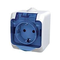 Розетка SCHNEIDER CEDAR WDE000543 с заземлением, с защит.шторками, прозрачная крышка, IP 44, белая