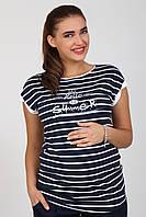 Стильная футболка для беременных Latisha hello, полоска, размер М, фото 1