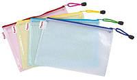 Папка на молнии, А4, прозрачный пластик, ассорти. AXENT