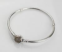 Серебряный браслет Пандора (Pandora) с позолотой 18 см