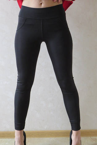 Классические женские лосины  (батал)№10 чёрный, фото 2