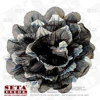 Заколка серый цветок с черным фатином, брошь