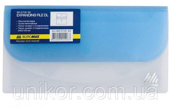Папка-конверт на липучке DL (240*125 мм.), 4-отделы, полупрозрачная, ассорти. BuroMax