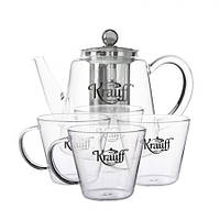 Набор 5 предметов: Заварник 1200мл и четыре чашки по 200мл Krauff 26-177-029