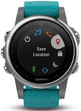 Смарт-годинник Garmin fenix 5S Silver with Turquoise Band, фото 3