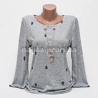 Стильная женская кофта-блуза с подвеской Листок p.42-48 цвет серый T1-3
