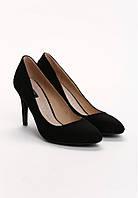 Замшевые женские польские черные модные классические туфли на шпильке Vices