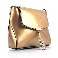 Золотистая сумка кросс-боди фигурная лаковая