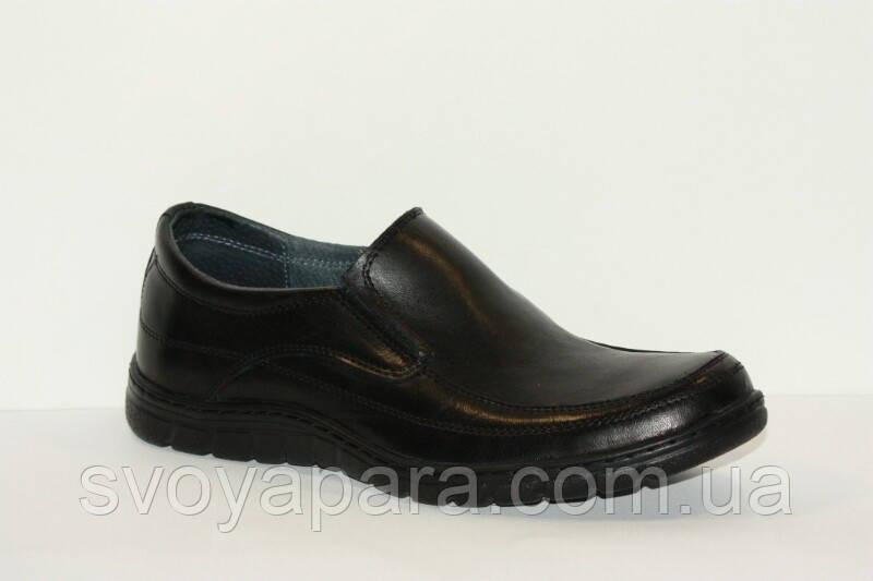 Туфли мужские кожаные чёрные мокасины