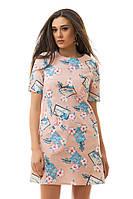 Летнее льняное прямое короткое платье