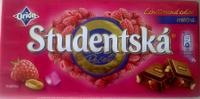 Молочный шоколад STUDENTSKA PECET с малиной, 180 гр
