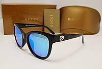 Женские солнцезащитные очки Gucci 8036 голуба зеркальная линза