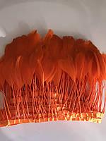 Перьевая тесьма из перьев петуха.Цвет оранжевый ,персик.Цена за 0,5м