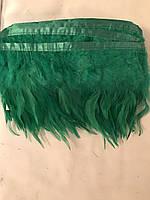 Перьевая тесьма из перьев петуха.Цвет зеленый.Цена за 0,5м
