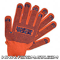 Перчатки х/б с ПВХ-точками 10 класс, 2 нити оранжевые