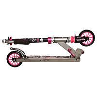 Детский 2-х колесный самокат складной для детей OXELO (розовый)