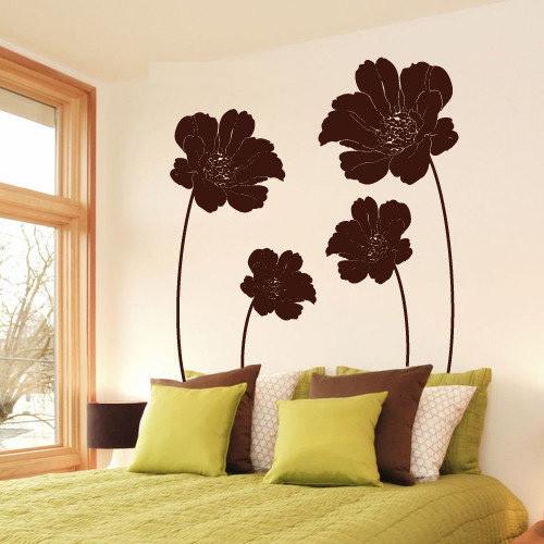 Виниловая интерьерная наклейка Маковое поле (цветы, растения, маки)