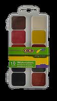 Краски аквар., пласт./кор., б/п., белый ZiBi 10 цв., ZB6520