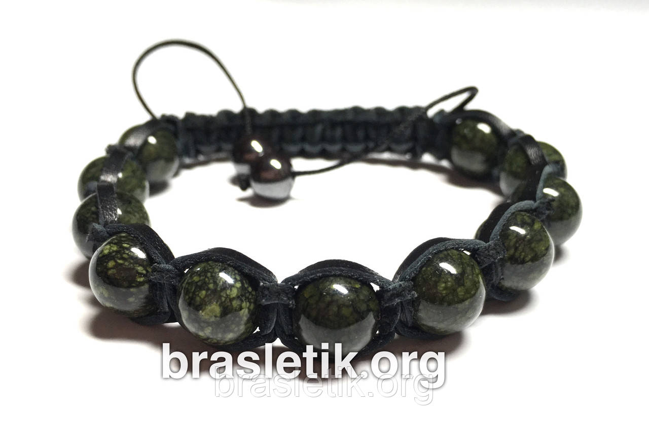 Кожаный браслет с натуральным камнем Змеевик shamballa