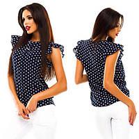 Блуза  женская шифоновая в горошек , вишня  !