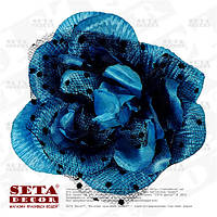 Заколка синяя роза с черным фатином, брошь