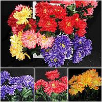 Букетики красивой хризантемы, разные цвета, выс. 47 см., 7 голов, 10 шт. в упаковке, 31 гр.