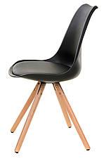 Стул пластиковый М-02 черный, сиденье с мягкой подушкой и деревянные буковые ножки  Eames Style, фото 2