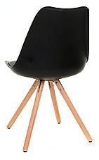 Стул пластиковый М-02 черный, сиденье с мягкой подушкой и деревянные буковые ножки  Eames Style, фото 3