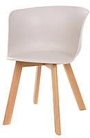Стул М-08 пластикое сиденье цвета капучино и деревянные буковые ножки Eames Style, лофт 75Нх55х54х47