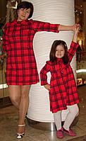 Комплект платьев для мамы и дочки, красная клетка