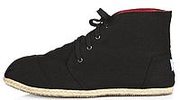 Мужская летняя обувь Toms All Black высокие (Томс) черные
