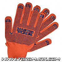 Перчатки х/б с ПВХ-точками 10 класс, 3 нити оранжевые
