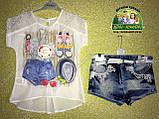 Костюм летний для девочки: блузка и джинсовые шорты с поясом, фото 2